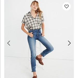MADEWELL Button Fly Slim Straight Blue Jeans